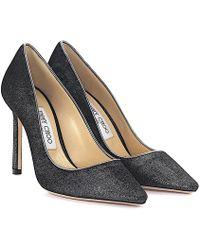 Jimmy Choo - Court Shoes Romy 100 Velvet Silver Metallic - Lyst