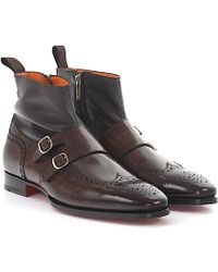 Santoni - Boots Double-monk 15714 Brogue Nappa Leather Brown Leather Brown Finished - Lyst