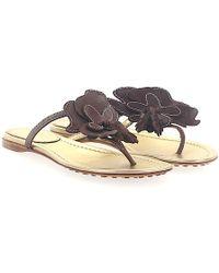 Car Shoe - Flip Flops Calfskin Flower Pattern Brown - Lyst