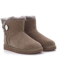 UGG - Boots Mini Bailey Button Bling Suede Taupe Glitter Jewellery - Lyst