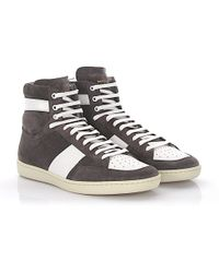 Saint Laurent - Sneaker Sl/10h High Suede Grey Leather White - Lyst