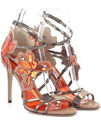 Jimmy Choo - Sandals Lolita Flat Ankle Strap Leather Multicolor Floral-details - Lyst