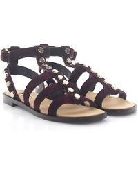 Balenciaga - Strappy Sandals Calfskin Suede Rivets Bordeaux - Lyst