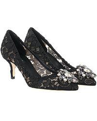 Dolce & Gabbana Pumps Bellucci R60 lace nylon gauze Gem
