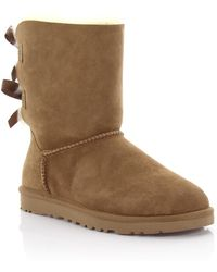 UGG - Boots Bailey Bow Suede Beige Lamb Fur - Lyst