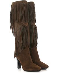 Saint Laurent - Knee Boots Lily 95 Suede Brown Frays - Lyst