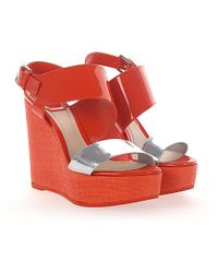 Dior - Wedge Sandals Mood Patent Leather Orange Silver - Lyst