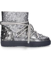 Inuikii - Ankle Boots Sneaker Leather Studs Sequins Fur Upper Silver - Lyst