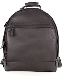 Santoni - Men Backpack A1764 Leather Brown Embossed - Lyst