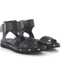 Agl Attilio Giusti Leombruni - Agl Sandals D608060 Ankle Strap Plateau Leather Black - Lyst