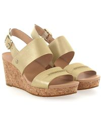 UGG - Wedge Sandals Elena Metallic Calfskin Stitching Gold - Lyst