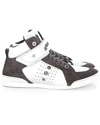 Jimmy Choo | Trainer High Lewis Leather White Suede Grey | Lyst