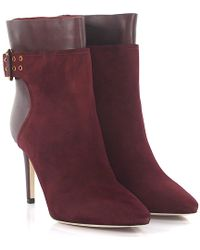 Jimmy Choo - Boots Major 85 Suede Claret - Lyst