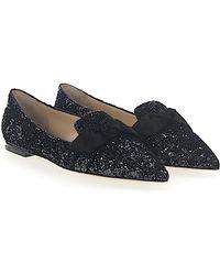 Ballerinas GABIE FLAT fabric glitter grey black loop Jimmy Choo London p4kZ0