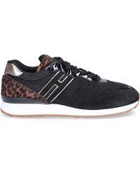 94fd38943 Hogan Low-top Sneakers R261 Suede Lion Print Logo Black Leopard