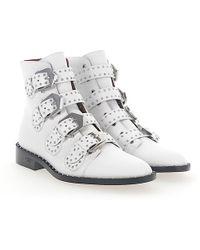 Givenchy - Stiefeletten Boots Be08143 Leder Weiss Nieten Silber - Lyst