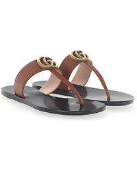 Gucci - Flip Flops A3n00 Leather Brown Metal Ornament Gg Detail - Lyst