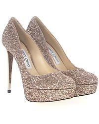 Jimmy Choo - Court Shoes Ellis 120 Plateau Fabric Glitter Rosègold - Lyst