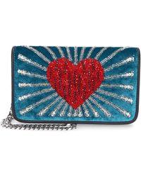 Les Petits Joueurs - Women Handbag Ginny Velvet Pearls Turquoise - Lyst