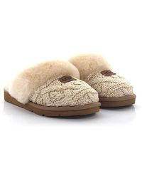 UGG - Hausschuhe Cosy Cable Strick Beige Lammfell - Lyst