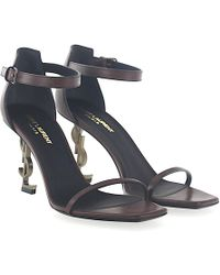1424eaed2cc83 Saint Laurent - Sandals Opium 85 Leather Brown Logo-heel Gold Metallic -  Lyst