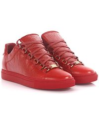Balenciaga - Sneakers Low Top Arena Leather Red Crinkled - Lyst 29c3f72d2