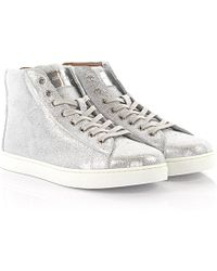 Gianvito Rossi - Trainers High S28230 Leather Silver Finished - Lyst