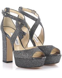 Jimmy Choo - Sandals April Plateau Lamé-woven Glitter Fabric Anthracite - Lyst
