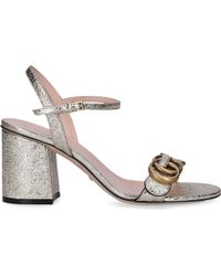 f749b8ee638 Gucci Soko Glittered Ankle-wrap Platform Sandals in Metallic - Lyst