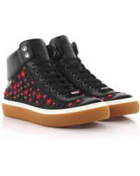 Jimmy Choo - Trainers High Argyle Saffiano Leather Denim Black Stars Ornament Red - Lyst