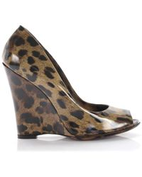 bda781bbed1 Dolce   Gabbana - Wedge Pumps Calfskin Patent Leather Lion Print Leopard -  Lyst