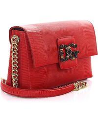 Dolce & Gabbana - Shoulder Bag Millennials Leather Red Crystal D&g Logo Patch - Lyst