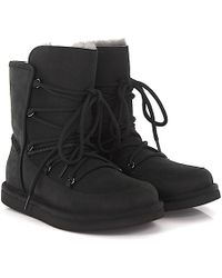 UGG - Boots Lodge Leather Suede Black Lamb Fur - Lyst