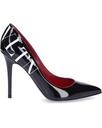 Valentino - Court Shoes Vltn Patent Leather Logo Black - Lyst