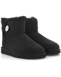 UGG - Boots Mini Bailey Button Bling Serein Suede Black Glitter Lamb Fur Jewellery - Lyst