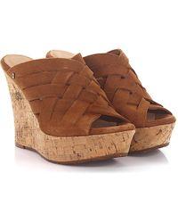 UGG - Sandals Calfskin Cork Suede Braiding Logo Brown - Lyst