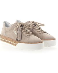 H349 Maxi Platform Sneakers with Cork Detail in White and Rose Gold Leather and Cork Hogan TeJl6p3Z8