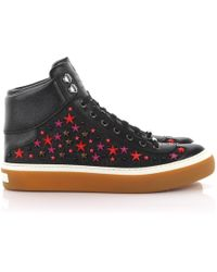 Jimmy Choo | Trainers High Argyle Saffiano Leather Denim Black Stars Ornament Red | Lyst