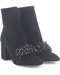 Elie Saab - Ankle Boots 93207 Suede Black Ornaments - Lyst