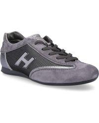 Hogan Sneaker Kalbsvelours Textil Logo grau silber awZM77A4Z