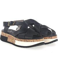 Agl Attilio Giusti Leombruni - Sandals D608143 Plateau Leather Black - Lyst
