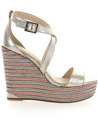 Jimmy Choo Wedge Sandals Portia 120 Calfskin Metallic Gold Grey Rose