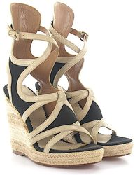 Balenciaga - Wedge Sandals Strap Leather Beige Fabric Black - Lyst