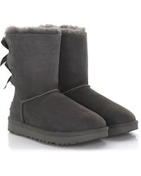 UGG - Boots Bailey Bow 2 Suede Grey Lamb Fur - Lyst
