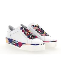 Sneaker R320 smooth leather Flower pattern white Hogan wNczQi
