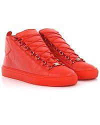 e9c26446d72a5 Balenciaga - Sneakers High Arena Leather Orange - Lyst