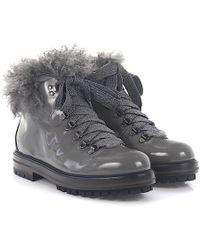 Agl Attilio Giusti Leombruni - Agl Boots D71753 Patent Leather Grey Lamb Fur - Lyst