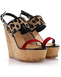 DSquared² - Wedge Sandals Essential Plateau Ankle Strap Pony Hair Beige Animal Print - Lyst
