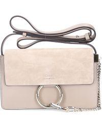Chloé - Shoulder Bag Faye S Leather Suede Grey - Lyst
