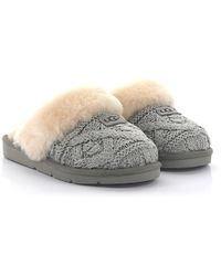 Ugg | House Slippers Cosy Cable Knitted Grey Lamb Fur | Lyst